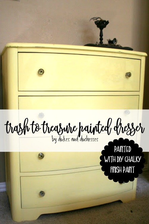 trash to treasure painted dresser painted with DIY chalky finish paint