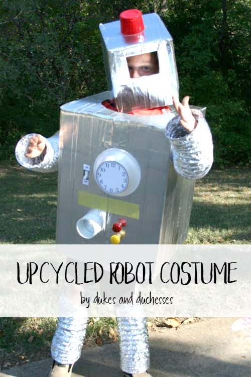 An upcycled robot costume dukes and duchesses for Robotic halloween decorations