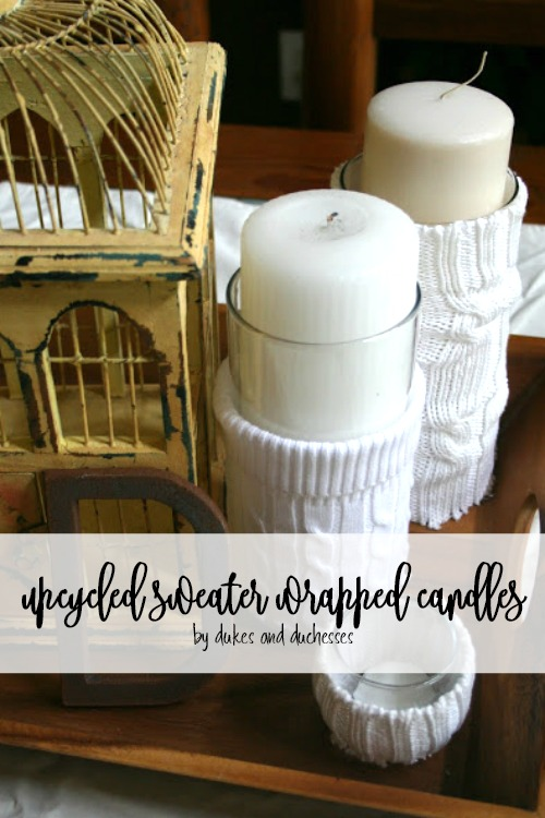 upcycled sweater wrapped candles