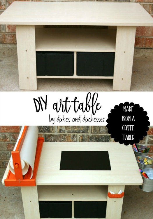 DIY art table upcycled from a coffee table