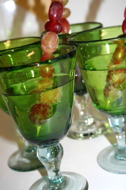 grapes in glasses for new years eve