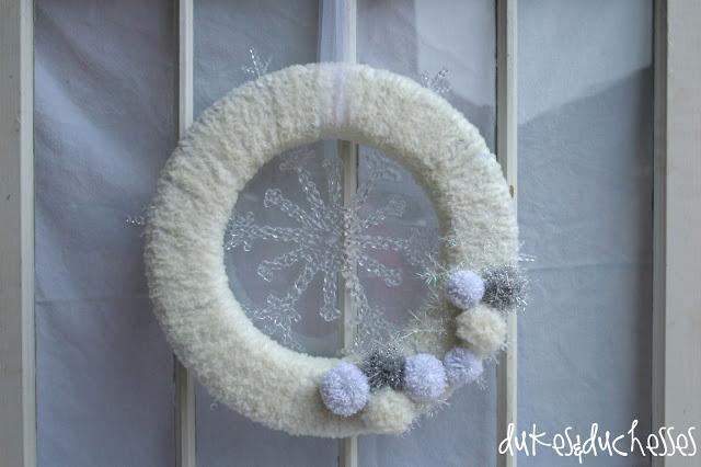 Lion Brand yarn winter wreath