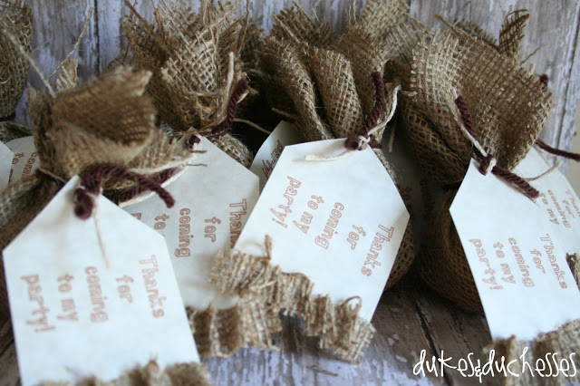 burlap party favors for burlap birthday party