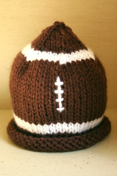 knit baby football hat