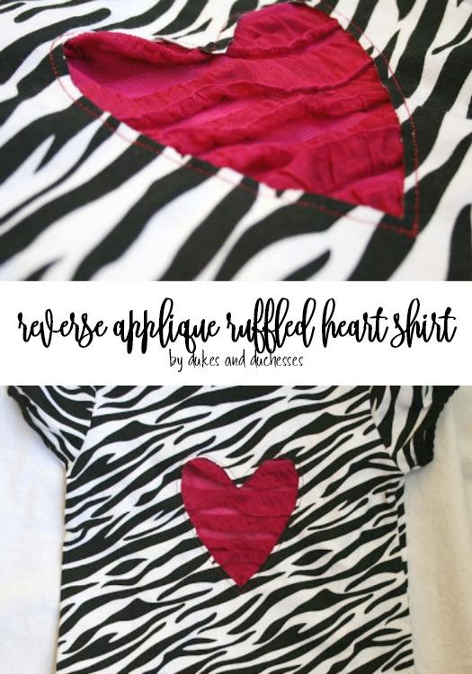reverse applique ruffled heart shirt