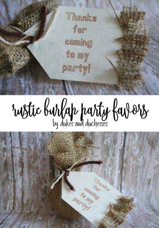 rustic burlap party favors