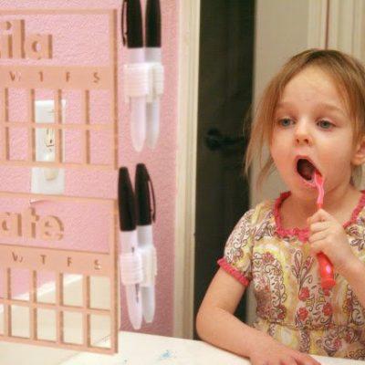 Vinyl Teeth Brushing Mirror Chart for Kids