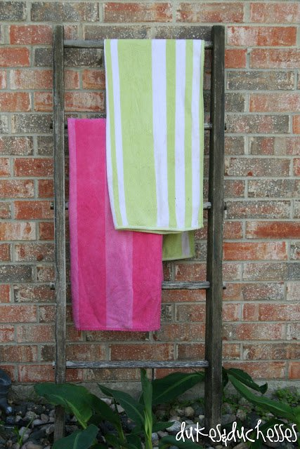 repurposed vintage ladder towel rack