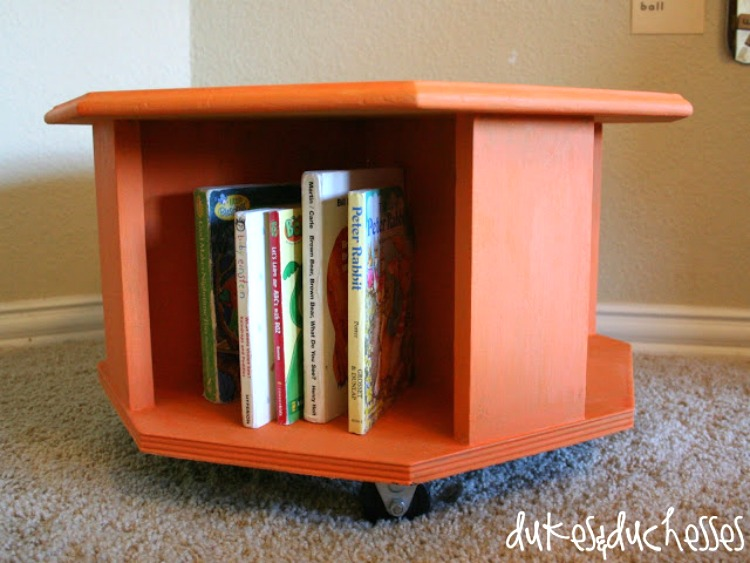 upcycled book caddy made from table