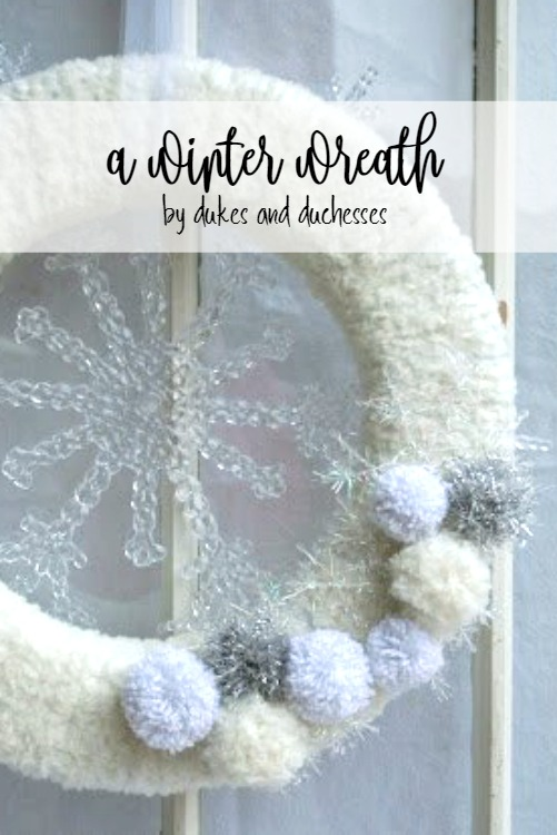 winter wreath made with lion brand yarn