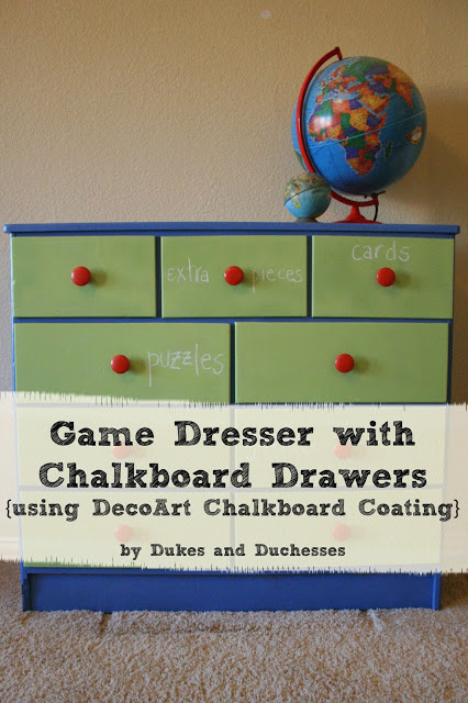 A Game Dresser with Chalkboard Drawers {DecoArt Chalkboard Coating}
