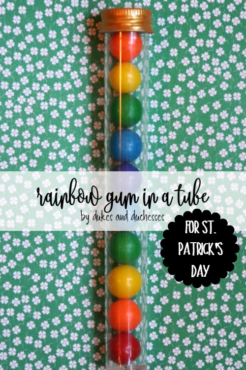 rainbow gum in a tube for st patrick's day