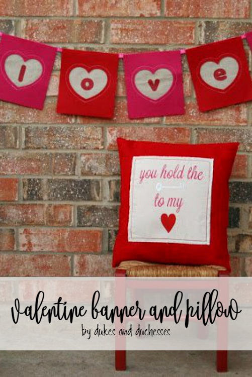 valentine banner and pillow