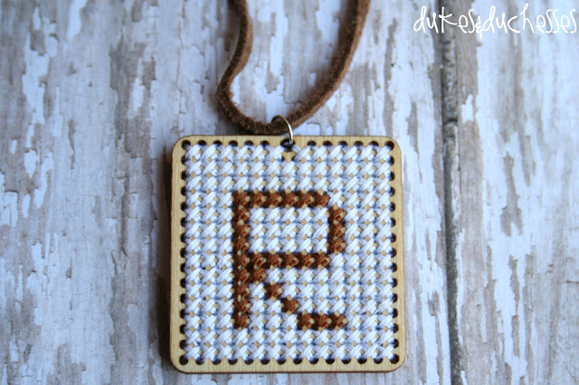 monogrammed pendant cross stitch