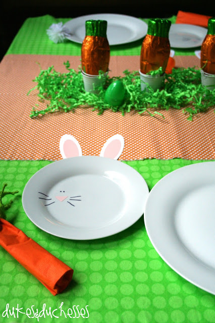 Easter tablescape with bunny plates