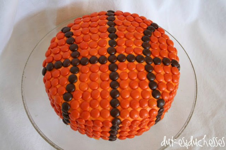 candy covered basketball cake