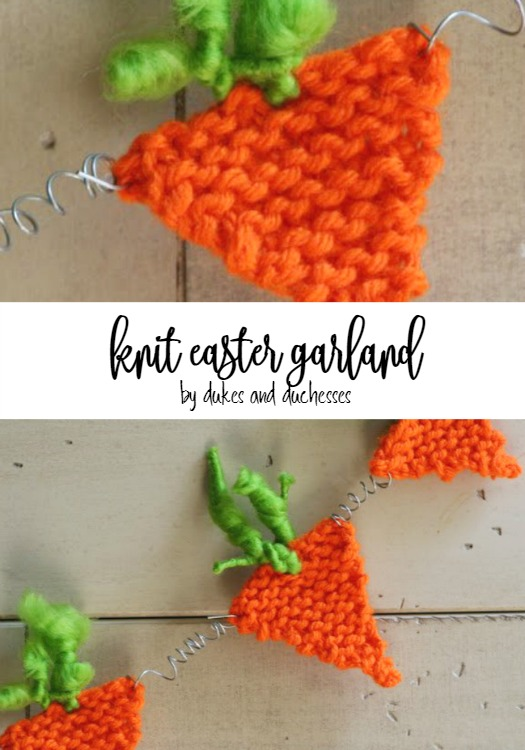 knit carrot easter garland