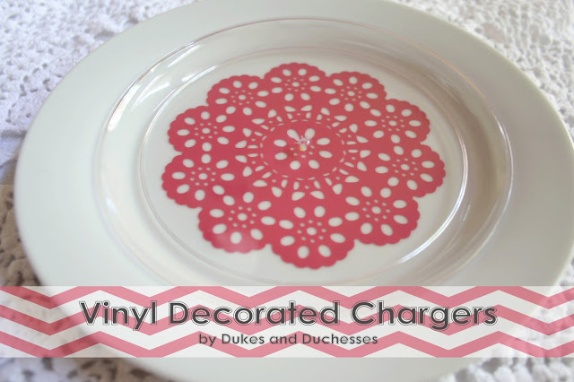 Vinyl Decorated Chargers {Mother's Day Inspiration}