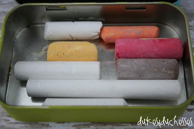 upcycled, repurposed mint tin: chalkboard box