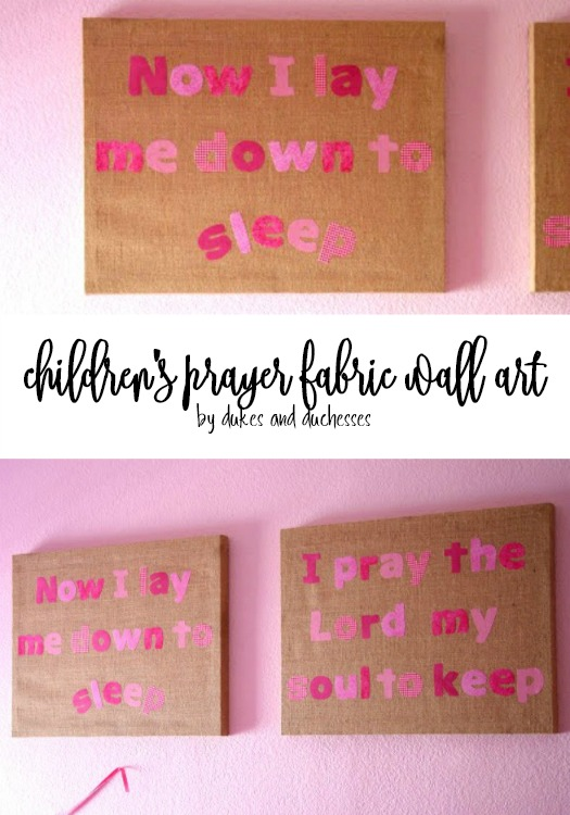 childrens prayer fabric wall art