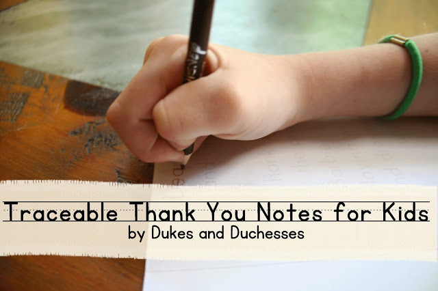 traceable thank you notes for kids