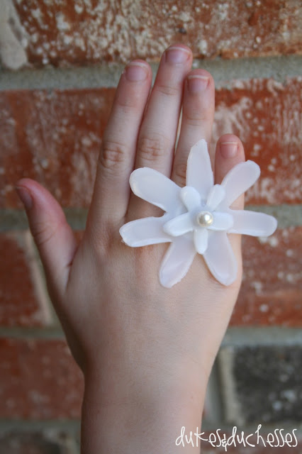 upcycled flower ring made from coffee creamer container