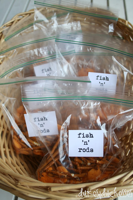 fish 'n' rods snacks for a fishing party