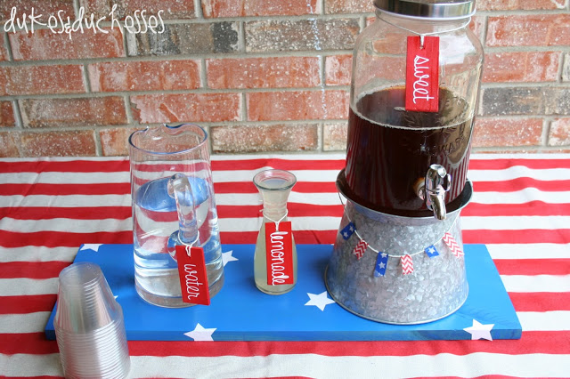 red, white, and blue beverage bar
