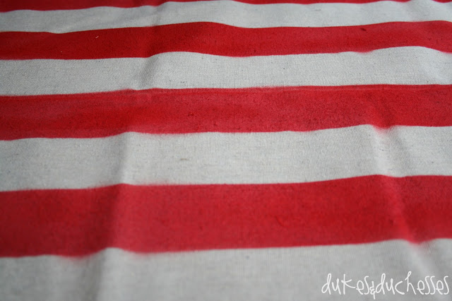 striped tablecloth made from a drop cloth