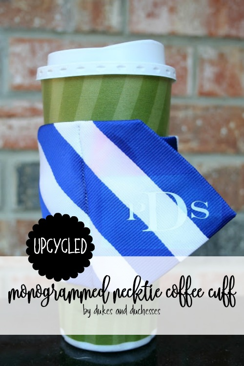upcycled monogrammed necktie coffee cuff