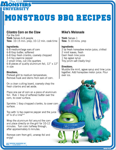 monstrous bbq recipes #MonstersU