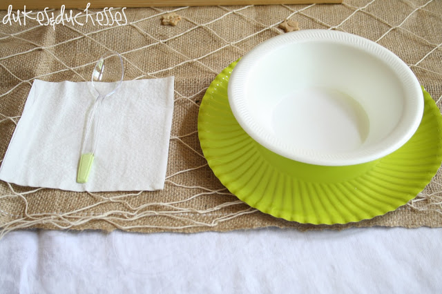 table set with burlap and fishing net