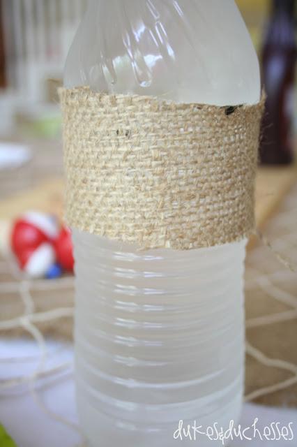 burlap wrapped water bottles