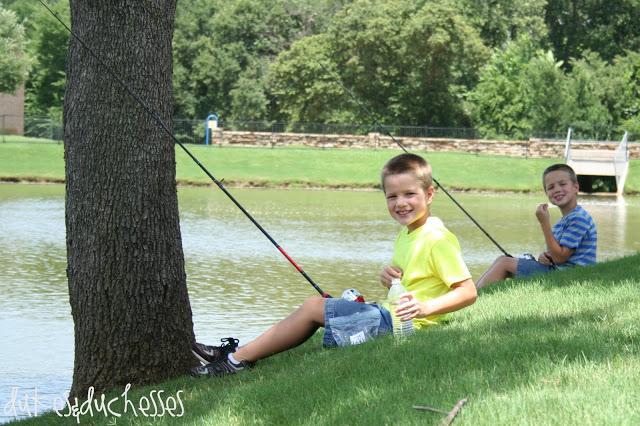 fishing at the neighborhood pond