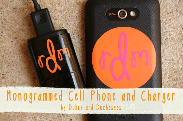 Monogrammed Cell Phone and Charger