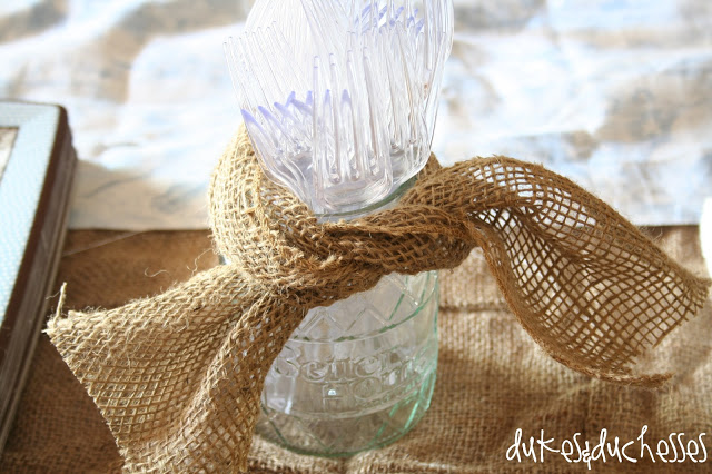 a simple baby shower: burlap ribbon