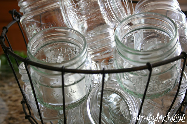 a simple baby shower: mason jar cups in a basket