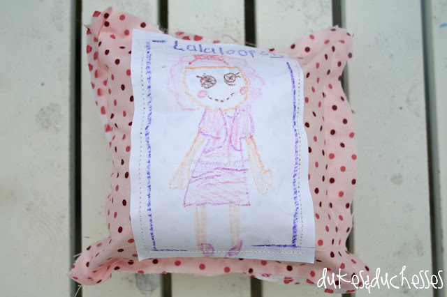 teaching a child to sew :: a Lalaloopsy pillow