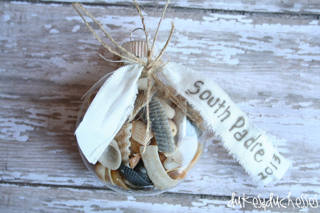 christmas ornament souvenir filled with shells