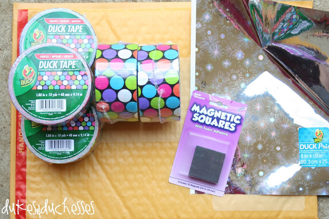 supplies to make monogrammed duct tape messenger bag