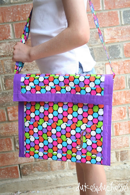 monogrammed duct tape messenger bag