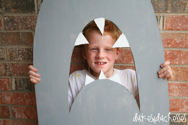 shark party backdrop and photo prop