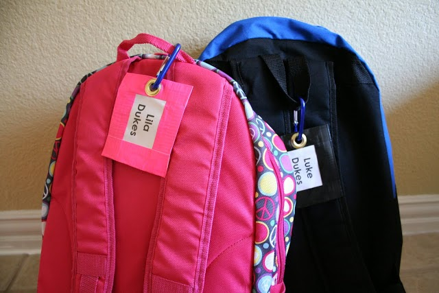 10 back to school ideas :: duct tape backpack tags