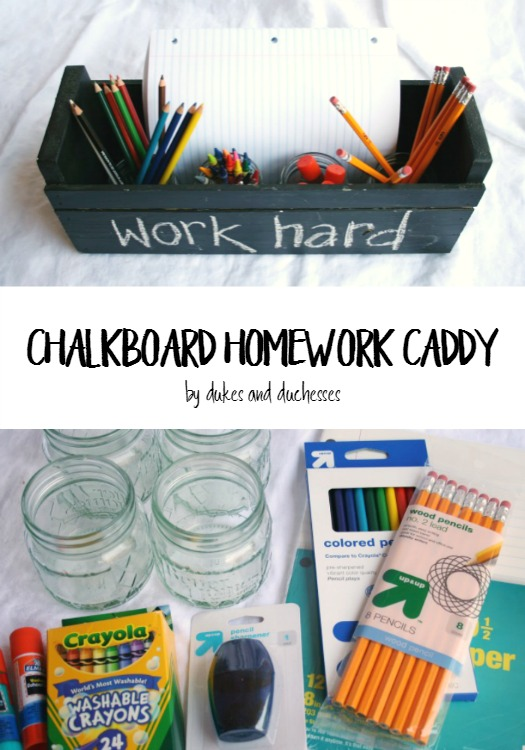 chalkboard homework caddy