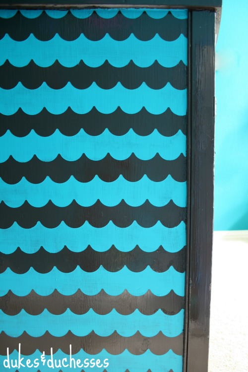 An Ombre Scallop Patterned Dresser With Shape Tape