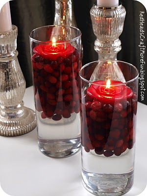 cranberry floating candles