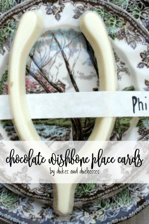 chocolate wishbone place cards for thanksgiving