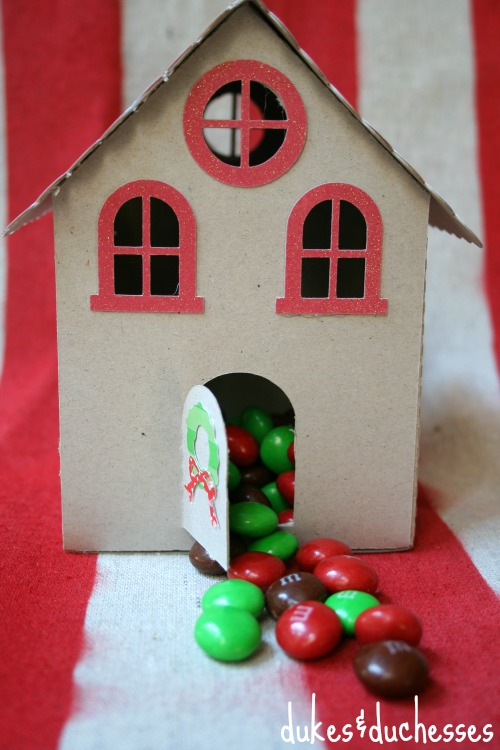 gingerbread M&M's in gingerbread house