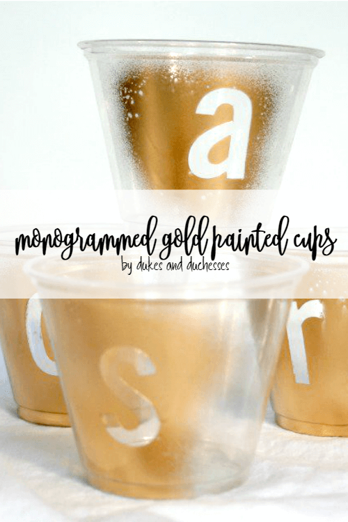 monogrammed gold painted disposable cups