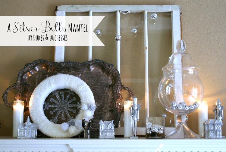 Silver Bells Mantel | #silverandgold #christmas #christmasdecor